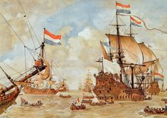 """Council of War on Board of the """"De Zeven Provinciën"""", the Flagship of Admiral Michiel Adriaanzoon de Ruyter, June before the Four Days Battle: an Episode from the Second Anglo-Dutch War Anglo Dutch Wars, Battle Of The Nile, Old Sailing Ships, Dutch Golden Age, Remo, Vintage School, Anglo Saxon, Tall Ships, Ship Art"""