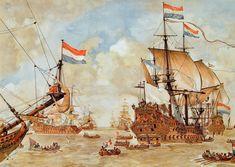 """Council of War on Board of the """"De Zeven Provinciën"""", the Flagship of Admiral Michiel Adriaanzoon de Ruyter, June 10th 1666, before the Four Days Battle: an Episode from the Second Anglo-Dutch War(1664-67) 17th Century, Drawings, Dutch Navy,by Johan Herman Ising after sketch of Willem van de Velde the Elder-Krijgsraad-voor-de-vierdaagse-zeeslag-schoolplaat-getekend-door-johan-herman-isings-naar-een-schets-van-willem-van-de-velde-de-oude"""