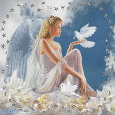 Beautiful angel and doves . Elfen Fantasy, Fantasy Art, Gifs, Angel Drawing, Fairy Wallpaper, I Believe In Angels, My Guardian Angel, Angels Among Us, Angel Pictures