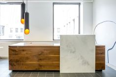 Reception Desk: Stone & Steel | Icon Modern