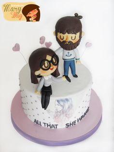 MaryWay Ilustratartas: Tart Erea Fondant Cake Designs, Fondant Cakes, Cupcake Cakes, Pretty Cakes, Cute Cakes, Fondant Figures, Funny Cake, Cake Craft, Valentine Cake