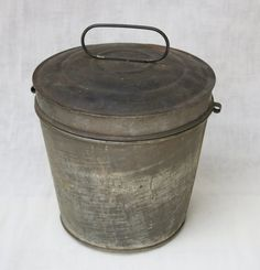 SOLD!!!    13F19C Vintage Galvanized Lidded Pail Bucket by FoundandFanciedGoods, $24.00
