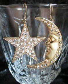KIRK'S FOLLY Earrings GoldTone Crystal #Moon #Stars pierced Celestial rhinestone #KirksFolly #DropDangle