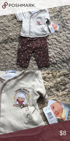 Little sheriff Brand new with tags snap short sleeve top and elastic bottoms.  Retail tag shows 3 piece set but only have two pieces here. Vitamins Baby Matching Sets