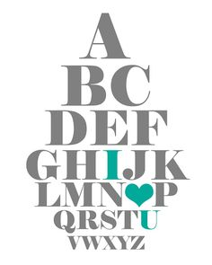 Free Printable- Eye Love You, Eye Chart in 5 printable colors!