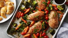 Fresh broccoli, baby carrots, grape tomatoes and boneless skinless chicken breasts brushed with a balsamic-honey glaze. Leave out the crescent rolls to drastically cut the carbs! One Pan Dinner, Dinner Menu, Dinner Recipes, Dinner Ideas, Entree Recipes, Meal Ideas, Food Ideas, Cooking Recipes, Healthy Recipes