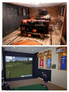 """Sports Room Inspiration... I like the jerseys on the wall for """"artwork""""."""