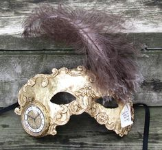Gold Venetian Steampunk masquerade mask with clock face, Time is the Fire $79