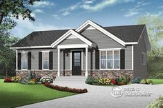 Discover the plan 3137 - Miranda from the Drummond House Plans house collection. Economical Modern Rustic Starter home design with open floor plan concept. House Siding, Facade House, Exterior House Colors, Exterior Design, Exterior Paint, Grey Siding, Drummond House Plans, Grey Houses, American Houses