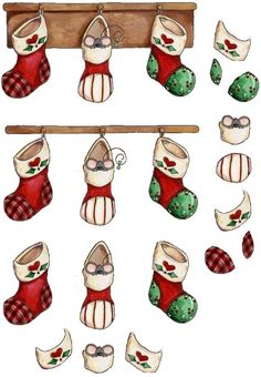 CHAUSSETTES DE NOEL Paper Art, Paper Crafts, Image 3d, Xmas Crafts, Background Images, Cardmaking, 3 D, Rooster, Decoupage
