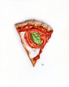 Pizza slice - ORIGINAL Painting (Still Life, Kitchen Wall Art, Watercolour Food Illustration) 8x10