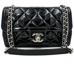 10ca68e4d2f7 CHANEL Mini Classic Flap Bag in Black Patent Leather with Chrome Hardware
