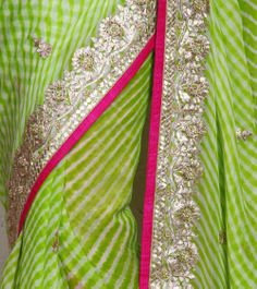 Lime Green Georgette Lehariya Saree with Gota Patti
