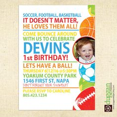 2nd birthday boy party invitation.  Boys Sport and Balls Colorful Birthday Invitation by DugganDesigns, $16.50