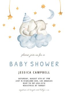 Customize 'Sleeping Elephant and Girraffe' - Baby shower invitation. Add text and photos. Download, print or send online for free! #invitations #printable #diy #template #babyshower #party
