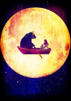 With bear, rowing by the moon