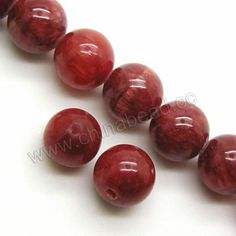 Gemstone Beads, Cloudy Jade, Cranberry, Smooth round, Approx 8mm, Hole:Approx 1mm, Sold per 16-inch strand