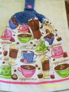 Colorful Coffee Crochet Top Towel by kayandgirlscrafts on Etsy, $2.85