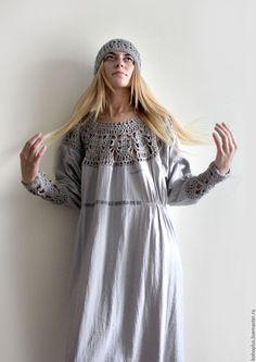 """Купить Платье из тонкого льна """"Серафима серебряная"""" - серый, однотонный, светло-серый, серебристый, бохо"""