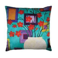 Le coussin Red Blossom s'inspire d'un tableau de Mariska Meijers. Frais et colorée, ce magnifique coussin en soie est une oeuvre d'art à part entière.