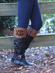 Monogrammed Colorblock Riding Boots from www.MARLEYLILLY.com