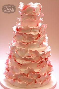 Pink ruffled wedding cake for a very feminine bride