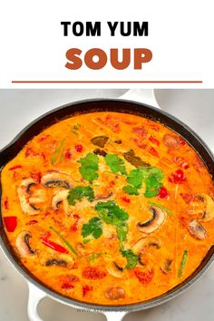 This is a simple yet delicious creamy tom yum soup: a Thai hot and sour soup that is aromatic, rich, spicy, and satisfying! Plus, this recipe is customizable, meat-free, and can be made vegan! Tom Yum Noodle Soup, Tom Yum Noodles, Tom Yum Soup, Vegetarian Snacks, Healthy Snacks, Thai Hot And Sour Soup, Vegetable Crisps, Vegan Fish, Asian Soup