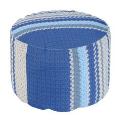 Ottoman - Blue Stripe Crochet pattern Round Pouf