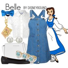 Belle by leslieakay on Polyvore featuring Glamorous, Barneys New York, Michael Kors, Kenneth Jay Lane, Gina Made It, Disney, disney, disneybound and disneycharacter