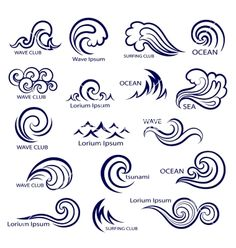 Set of isolated wave icons vector by transia on VectorStock® Catch the wave Body Art Tattoos, I Tattoo, Tatoos, Wave Tattoos, Tattoo Conchas, Tattoo Studio, Henna Designs, Tattoo Designs, Tattoo Ideas