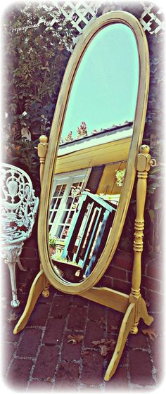 Distressed Vintage shabby chic, french country, country cottage, yellow, standing mirror! Solid wood! Rustic! Gorgeous! Handpainted #bestofEtsy #distressedfurniture