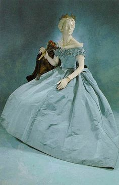Blue silk Civil War Ball Gown