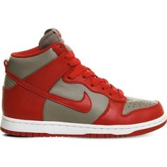 Nike Dunk retro QS leather high-top trainers ($60) ❤ liked on Polyvore featuring men's fashion, men's shoes, men's sneakers, grey red qs, mens red sneakers, nike mens sneakers, mens retro sneakers, mens gray dress shoes and mens two tone shoes