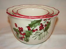 Better Homes and Gardens Heritage Collection Christmas Holly Nesting Bowls