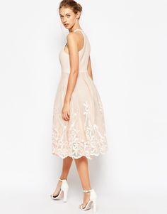 ASOS Embroidered Floral Super Full Mesh Dress