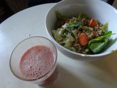 Superfood salad (sweetheart cabbage, carrot, hemp seed, natural yoghurt & homemade granola) with raspberry & banana smoothie