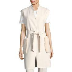 Weekend Max Mara Alben Doppio Fur Pocket Vest (42.190 RUB) ❤ liked on Polyvore featuring outerwear, vests, pink vest, pink fur vest, fur vests, pocket vest and weekend max mara