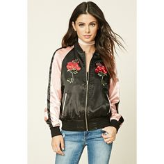 Forever 21 Women's  Embroidered Souvenir Jacket ($35) found on Polyvore featuring women's fashion, outerwear, jackets, embroidery jackets, forever 21 jackets, forever 21 and embroidered jacket