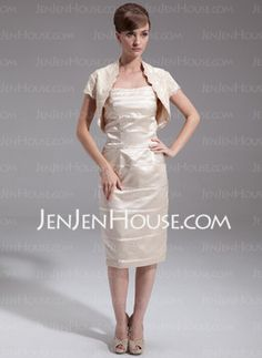 Sheath Strapless Knee-Length Charmeuse Mother of the Bride Dresses With Ruffle (008006402) - JenJenHouse en