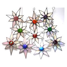 Christmas Dichroic Stained Glass Star choice of style and colour - The British Craft House Dichroic Glass, Fused Glass, Star Choice, Craft House, Stained Glass Christmas, Christmas Star, Suncatchers, Tree Decorations, Home Crafts