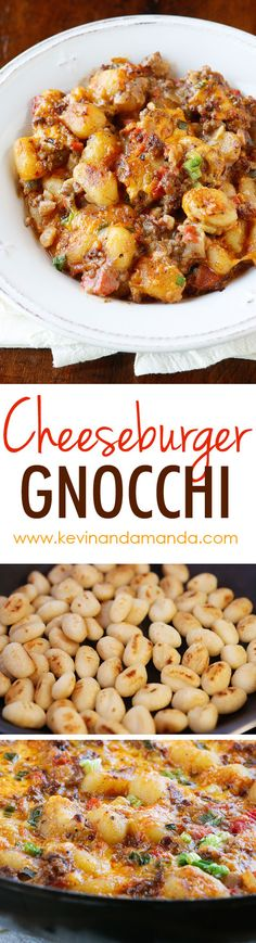 Cheeseburger Gnocchi - potato dumplings (gnocchi) toasted, then simmered with seasoned beef, onions, tomatoes, and cheese for a 15-minute, one pot meal