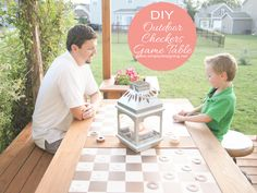DIY Outdoor  Checkers Game Table by Simply Designing