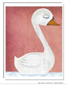 Swan Art Print. Soothing Dreamy Nursery Art. by thedreamygiraffe, $18.00