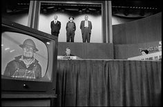 """Photographs by Henri Cartier-Bresson: New York 1959. Contestants participate in a taping of a TV show To Tell the Truth. introduction to the catalogue, Galassi writes that the """"panoramic scope"""" of Cartier-Bresson's work, """"its lusty curiosity, its acute responsiveness to the full panoply of human experience — and its many masterpieces of photographic art — constitute a full and nourishing account of the emergence of the modern world."""""""
