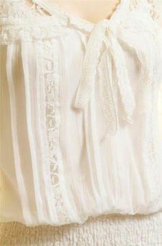 Victorian Ivory Faux Silk Chiffon Sheer Lace Trim Peasant Batwing Blouse Top M L | eBay
