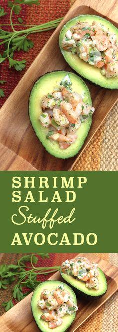 Shrimp Salad Stuffed Avocado - low-carb, gluten-free, paleo-friendly | diabeticfoodie.com