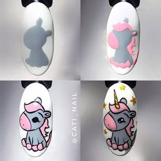 Cartoon Nail Designs, Cute Nail Art Designs, Simple Nail Designs, Diy Nails, Cute Nails, Nail Art Design 2017, Mickey Nails, Mermaid Nail Art, Nail Drawing