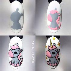 Cartoon Nail Designs, Cute Nail Art Designs, Diy Nails, Cute Nails, Aloha Nails, Mickey Nails, Unicorn Nail Art, Secret Nails, Nailart