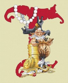 Pirate Letter T cross stitch patterns by Lena Lawson Needlearts artwork by Pascal Moguerou booty argh treasure Talk like a Pirate Day by thecottageneedle