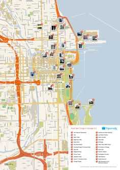 Free Printable Map of Chicago attractions from Tripomatic.com. Get the high-res version at http://www.tripomatic.com/United-States-of-America/Illinois/Chicago/#tourist-map